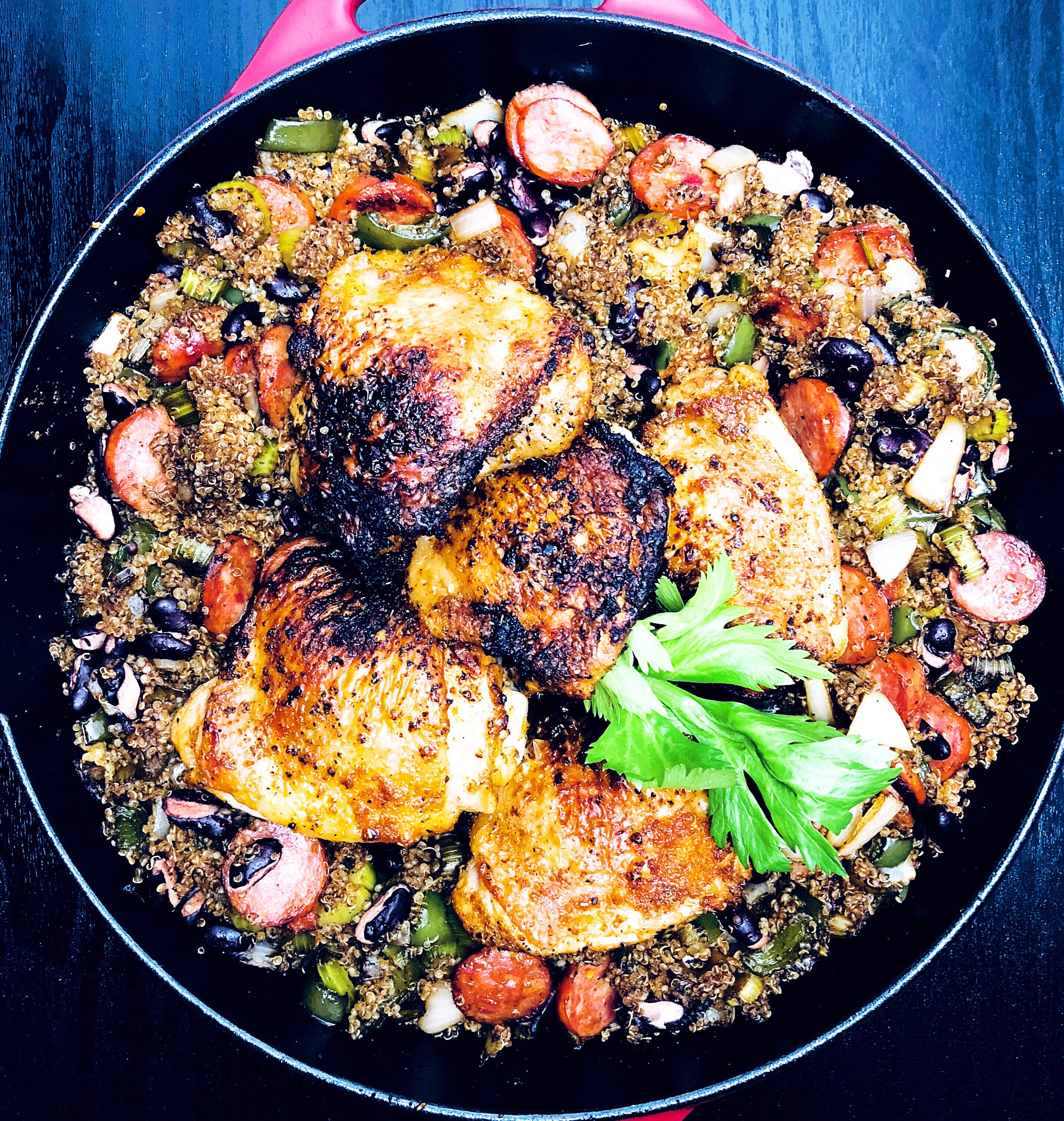 """""""Dirty Quinoa"""" & Red Beans with Chicken & Andouille Sausage"""