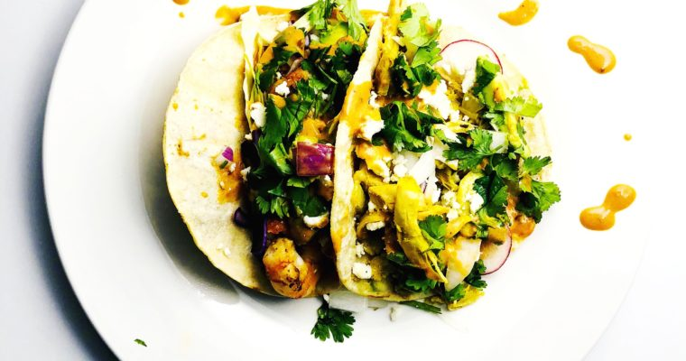 street tacos with chipotle aioli.